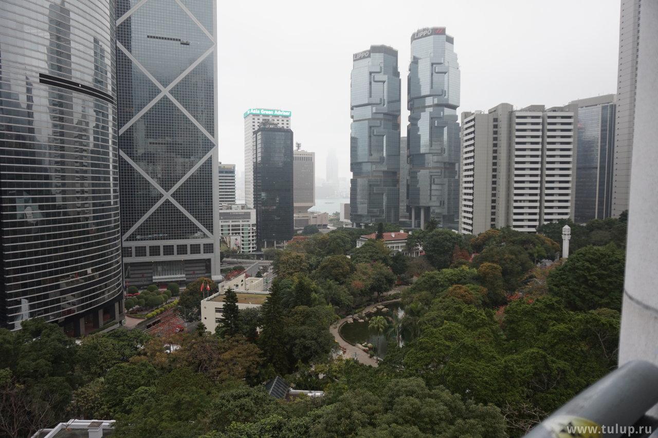 Вид на бухту через парк Гонконг